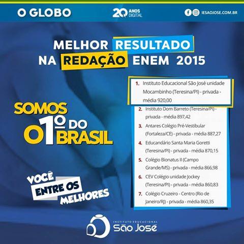 Instituto Educacional São José conquista melhor média na redação do Brasil