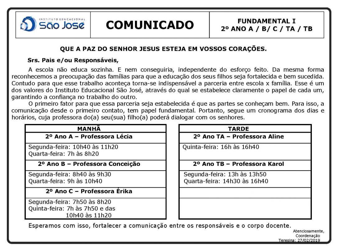 COMUNICADO – HORÁRIO DE CONVERSA PROFESSORES E PAIS – 2º ANO DO ENSINO FUNDAMENTAL