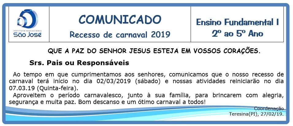 COMUNICADO RECESSO CARNAVALESCO